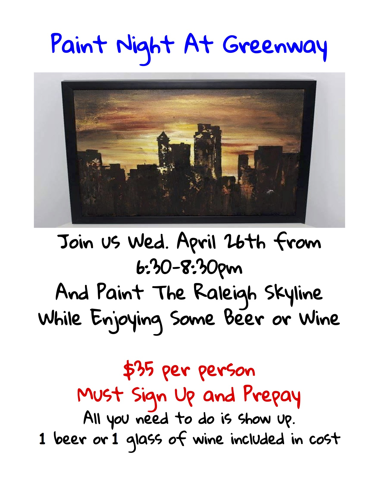 Greenway beer and wine paint night at greenway wed for Paint and wine raleigh